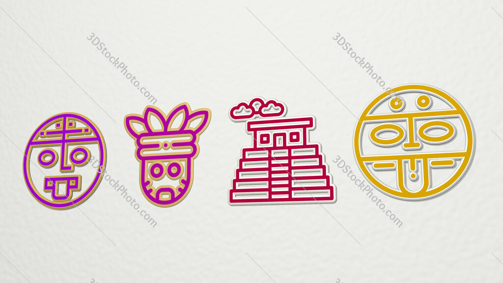 aztec 4 icons set