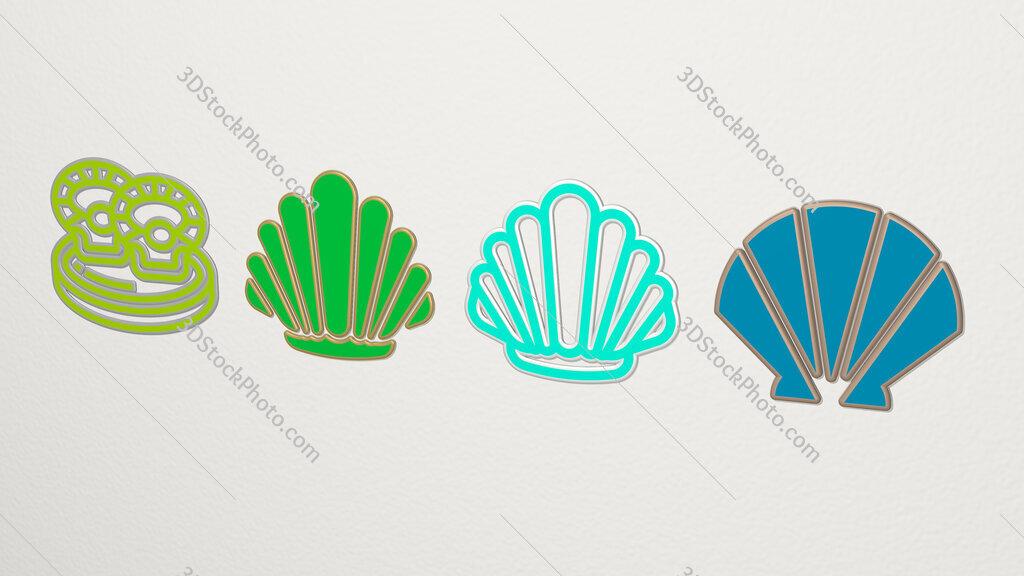 scallop 4 icons set