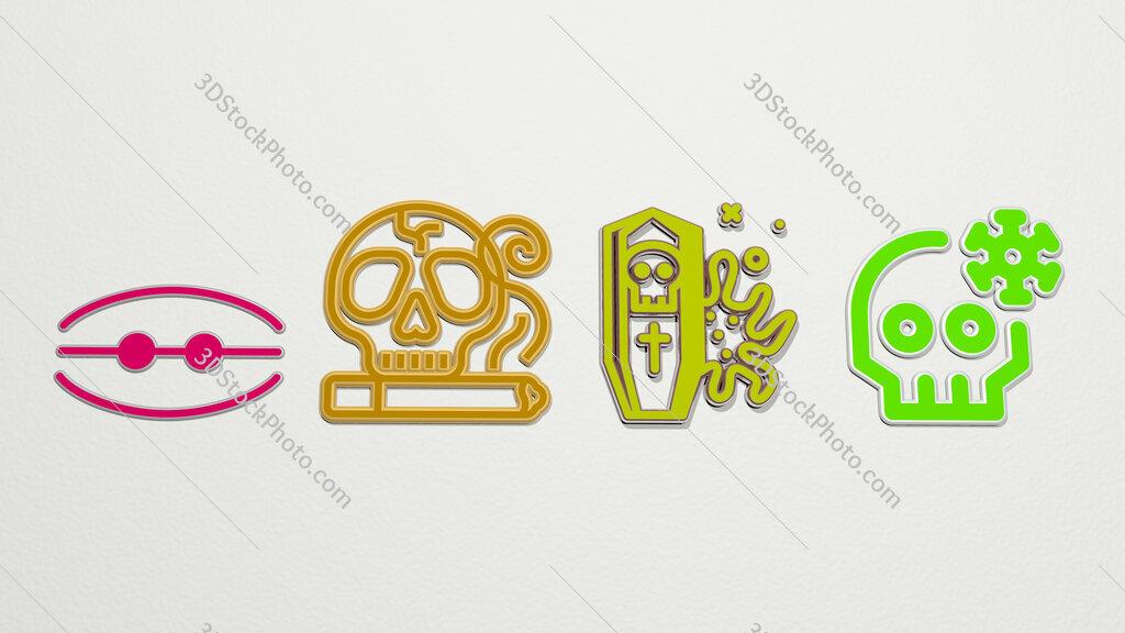 death 4 icons set