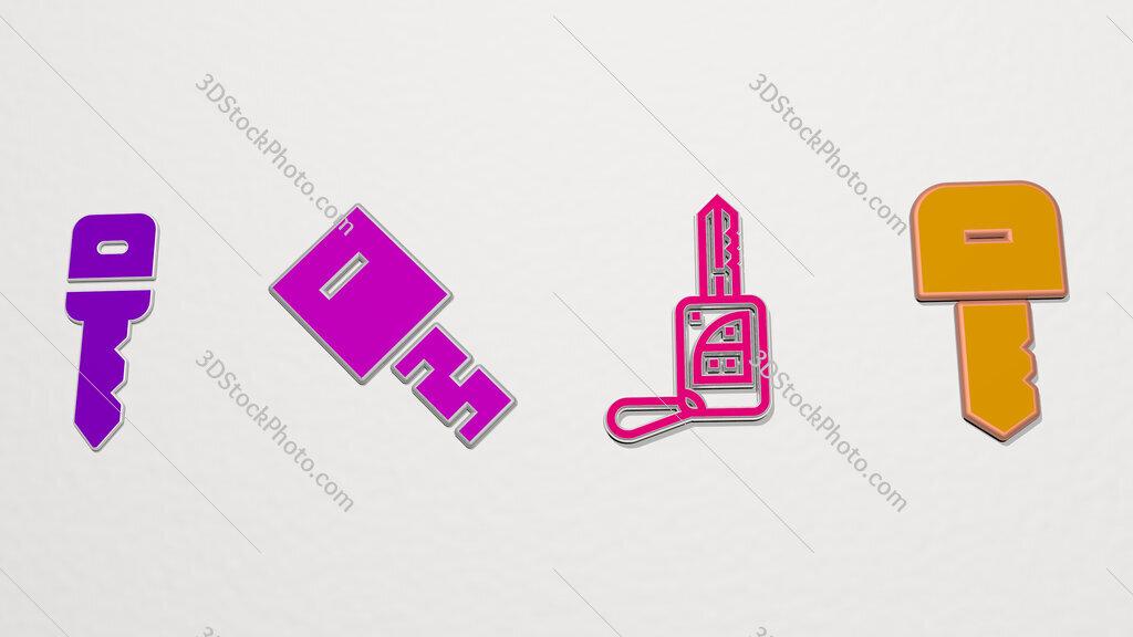 car key 4 icons set