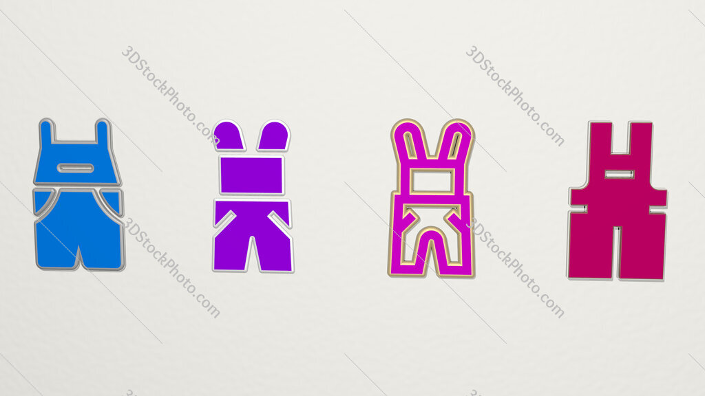 overall 4 icons set