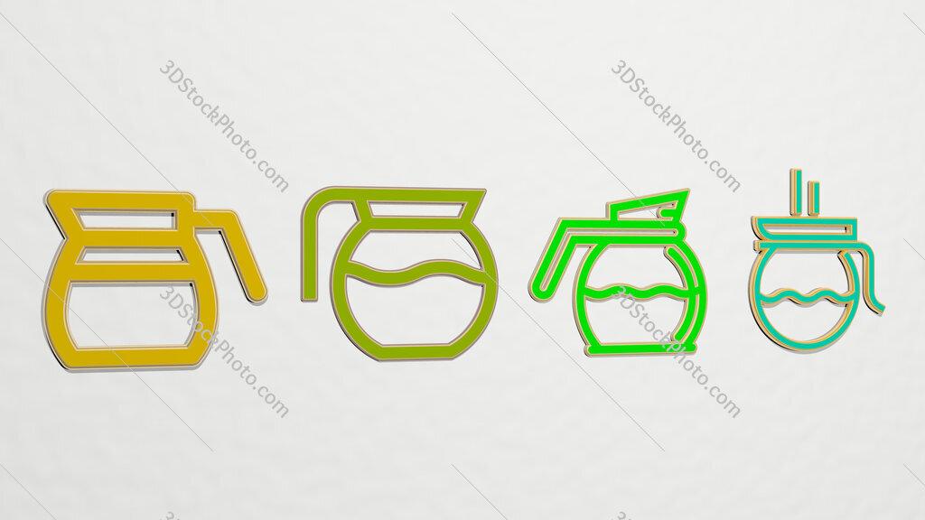 coffee pot 4 icons set