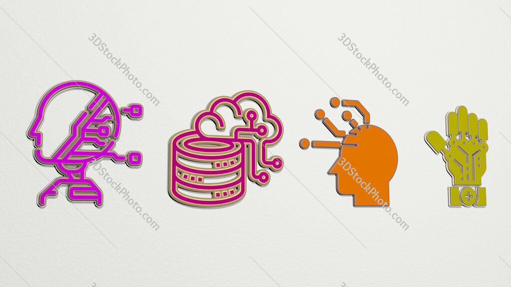 artificial intelligence 4 icons set