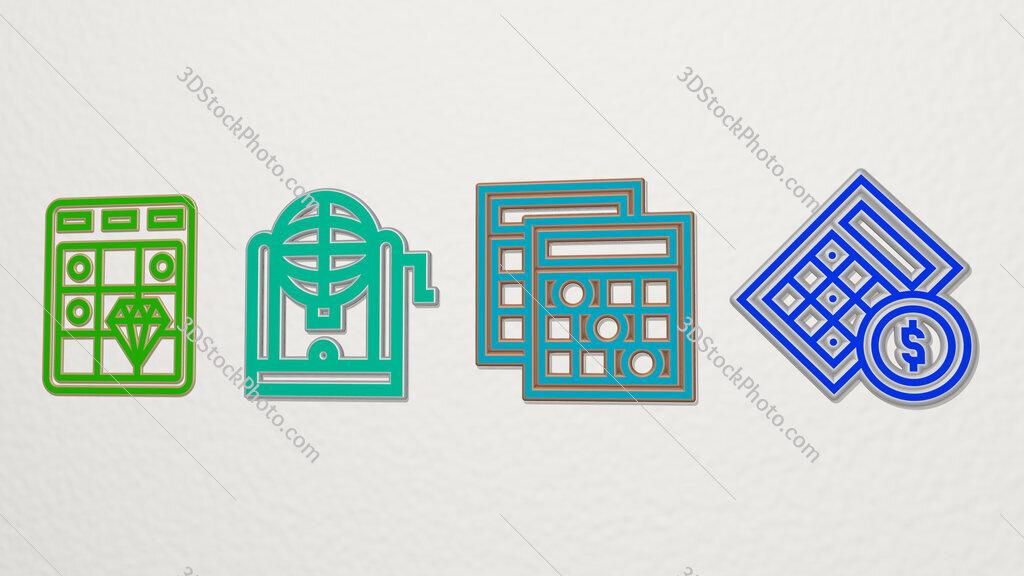 bingo 4 icons set