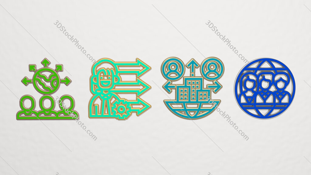 outsourcing 4 icons set