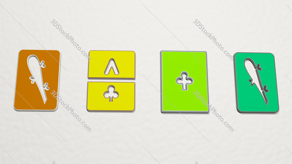 ace of clubs 4 icons set