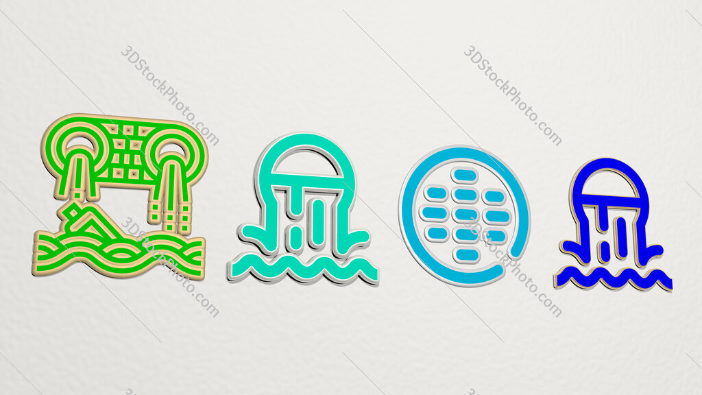 sewer 4 icons set