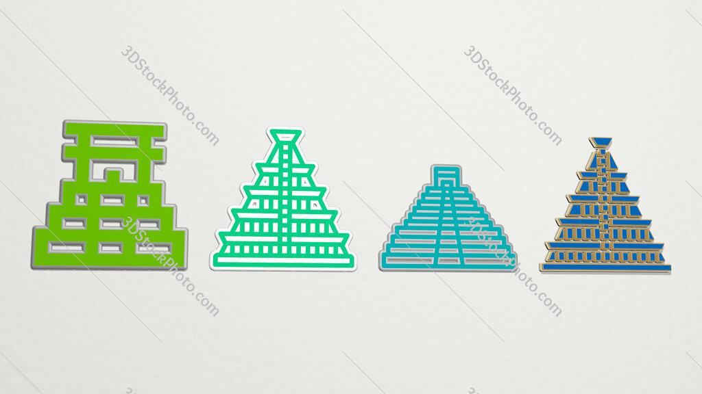 mayan pyramid 4 icons set