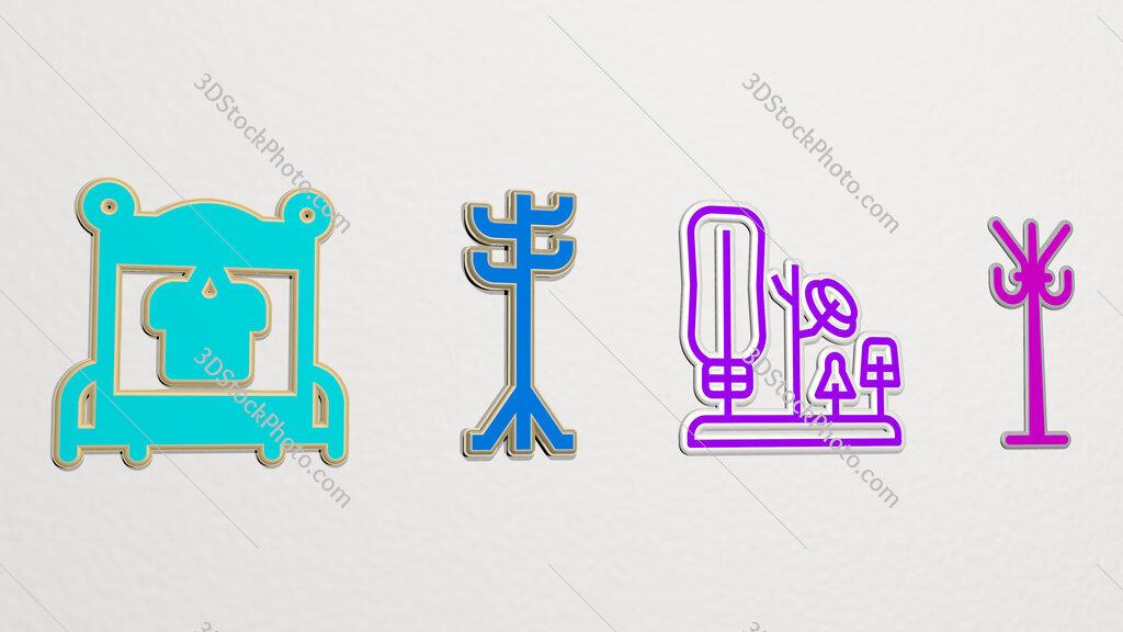 rack 4 icons set