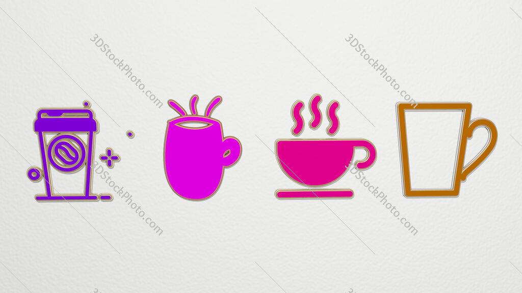 coffee-mug 4 icons set
