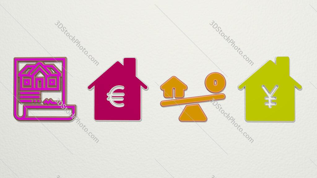 mortgage 4 icons set