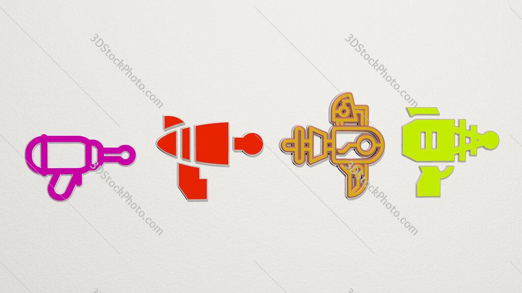 blaster 4 icons set