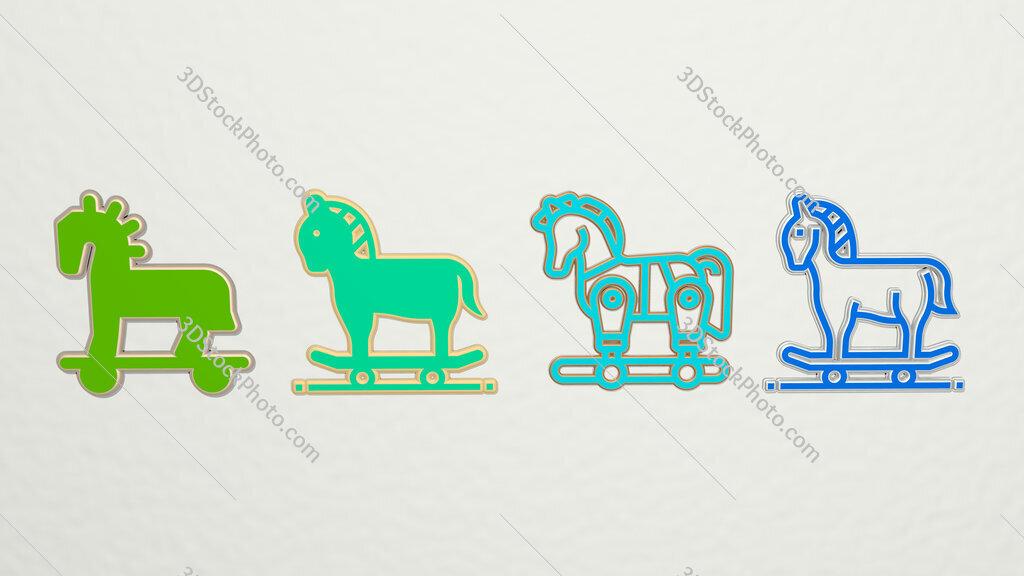 trojan horse 4 icons set