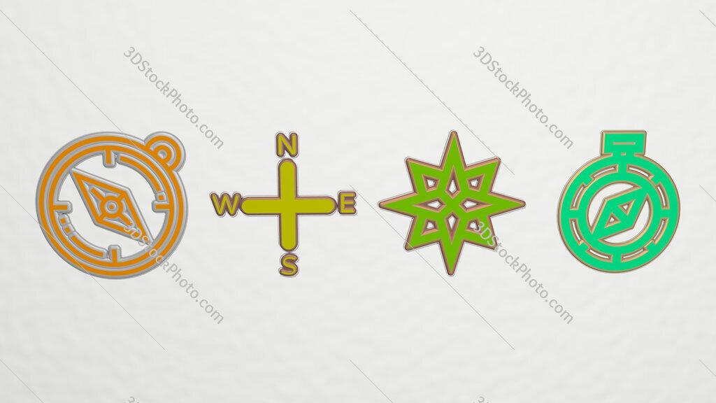 cardinal-points 4 icons set
