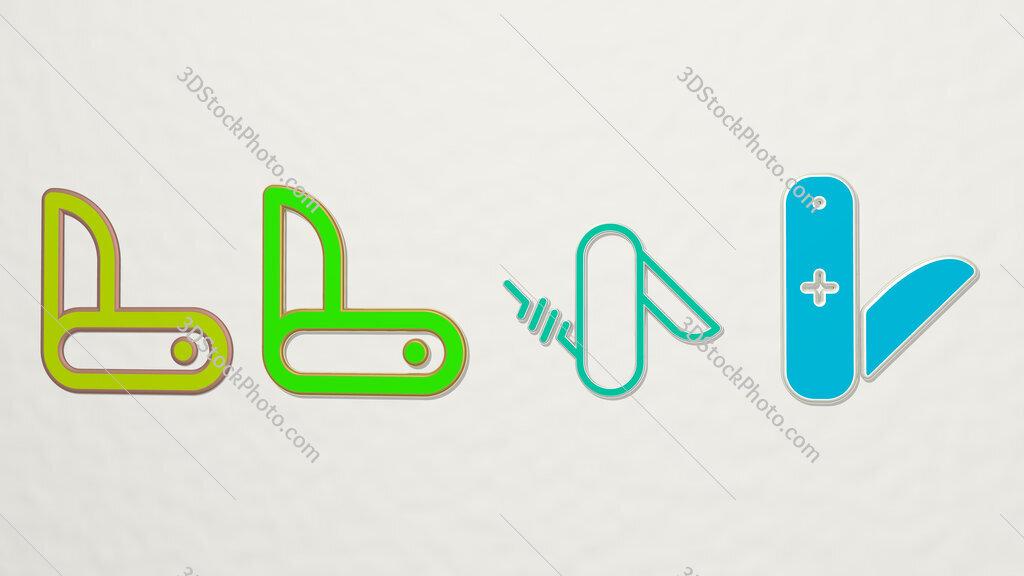 swiss knife 4 icons set
