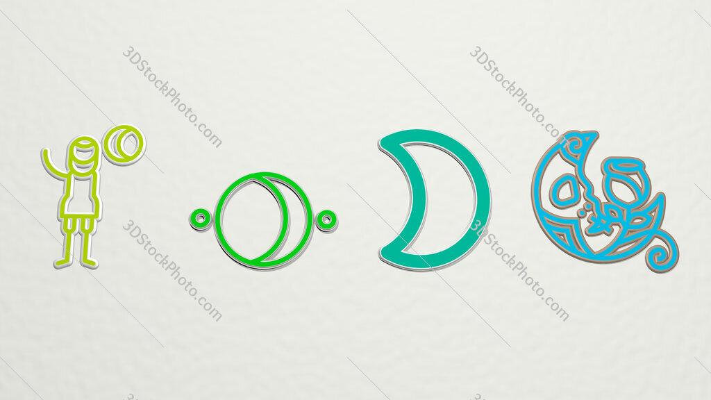 crescent moon 4 icons set