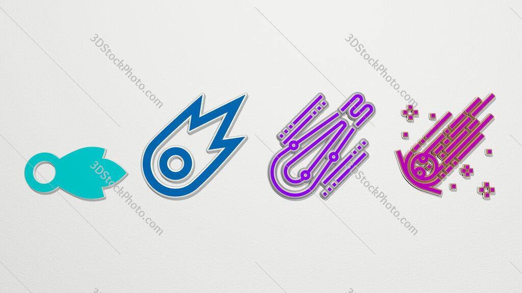 Comet 4 icons set