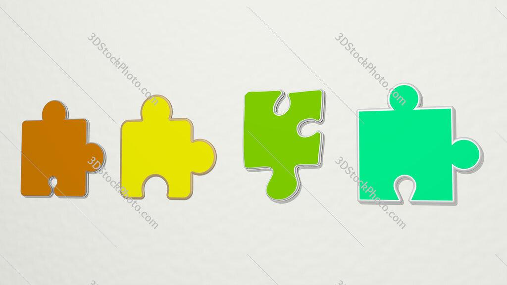 puzzle piece 4 icons set