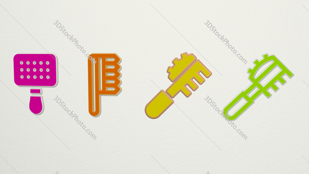 pet brush 4 icons set
