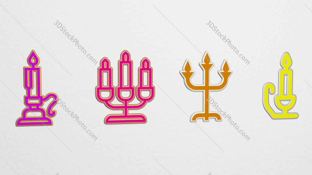 candlestick 4 icons set