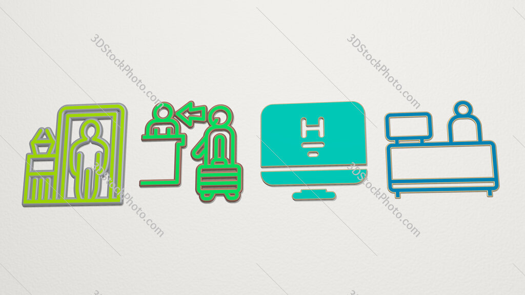 check in 4 icons set