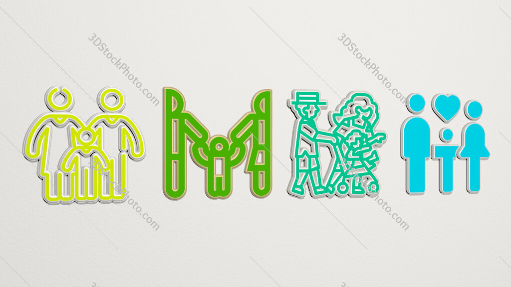 family 4 icons set