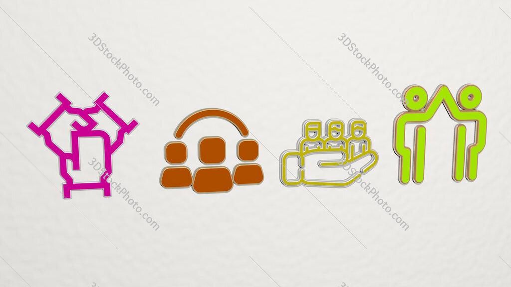 team 4 icons set