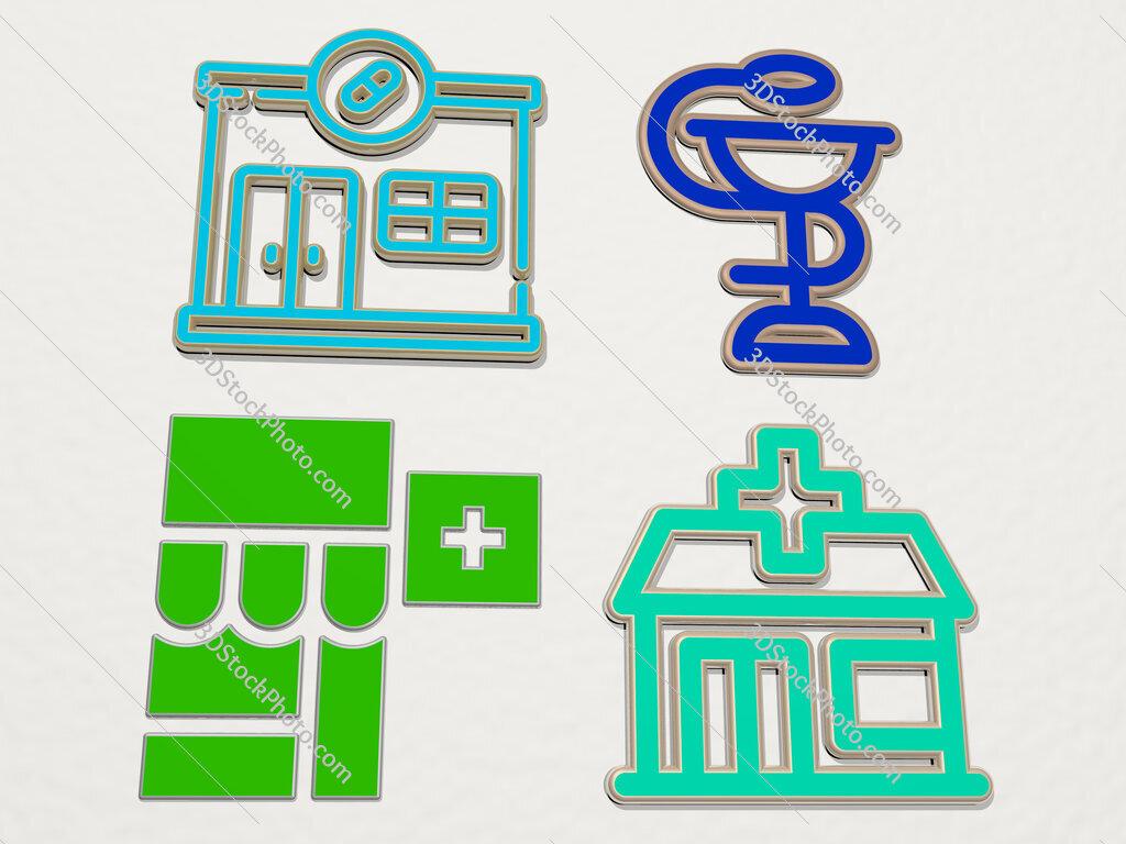 pharmacy 4 icons set