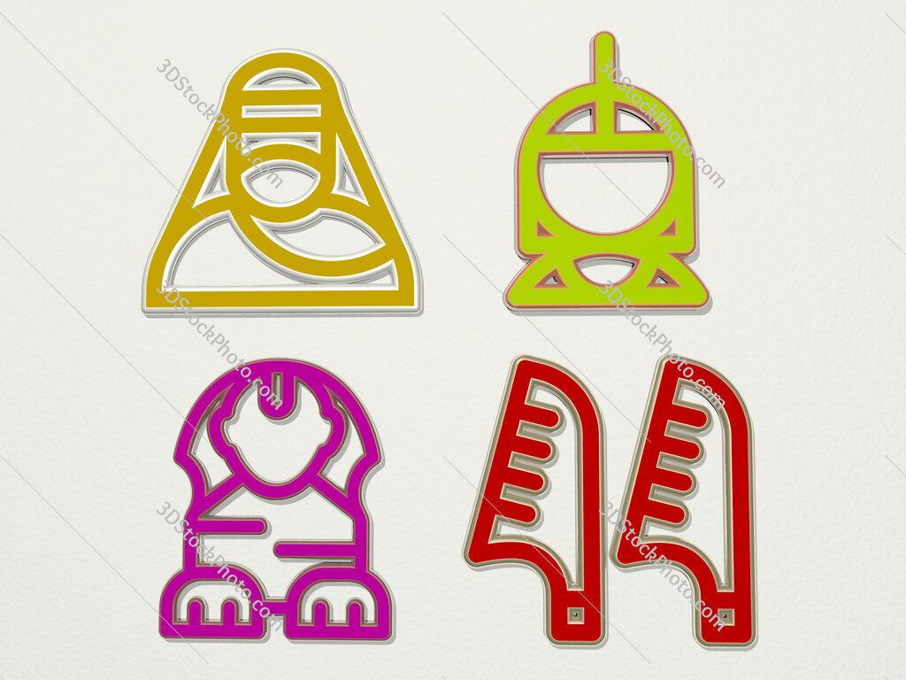 Egyptian 4 icons set