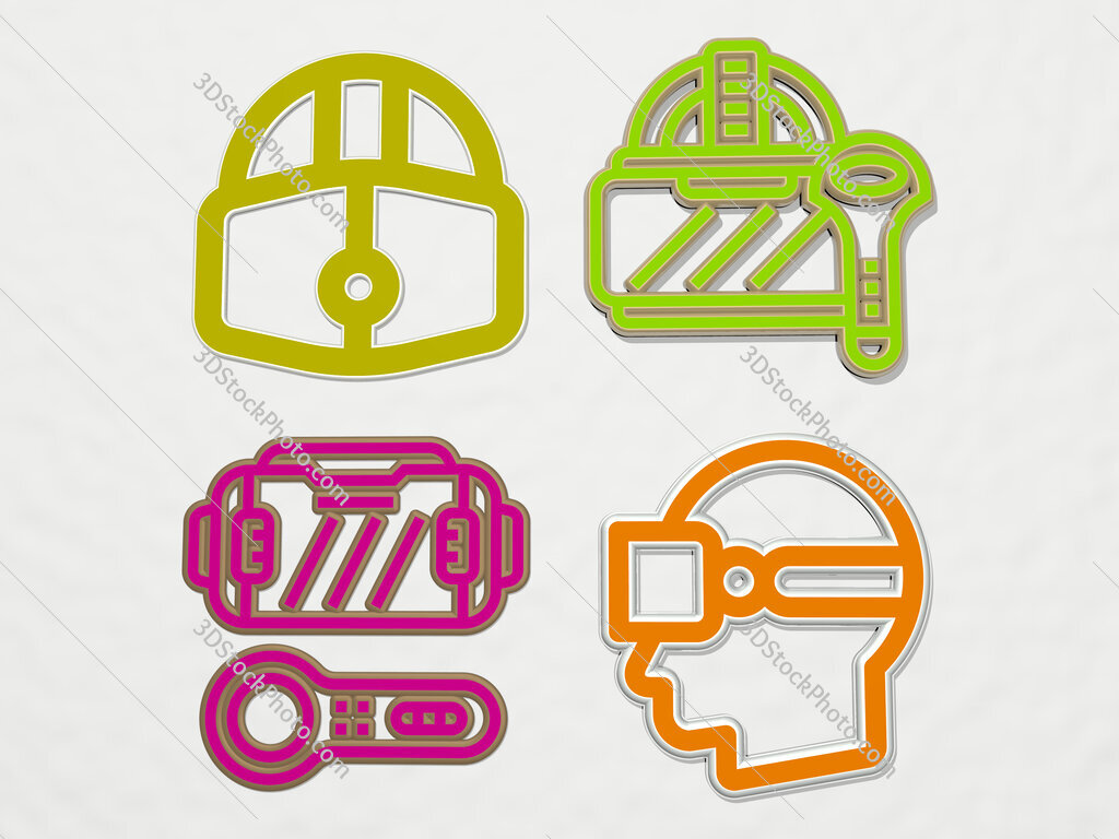 virtual reality glasses 4 icons set