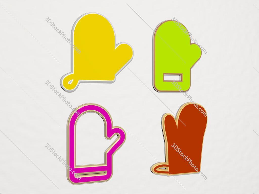 kitchen glove 4 icons set