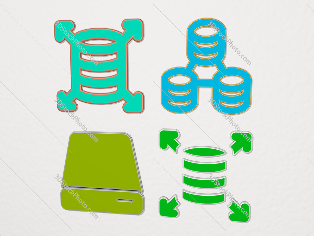 hard disc 4 icons set