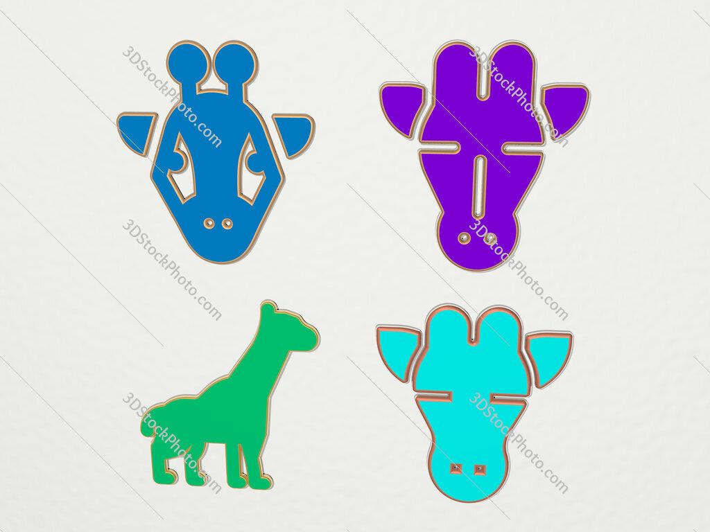 giraffe 4 icons set