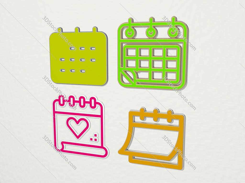 calendar 4 icons set