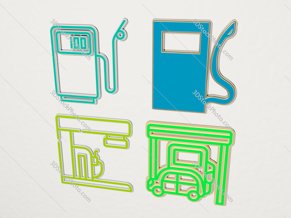 petrol station 4 icons set