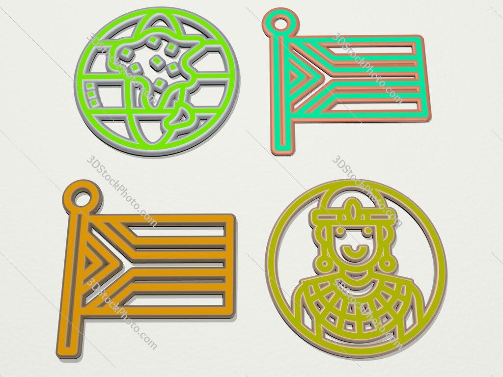 africa 4 icons set