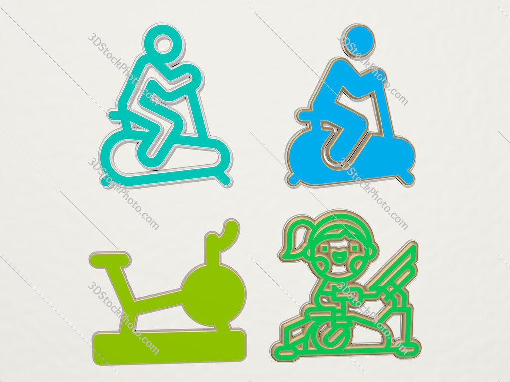 stationary bicycle 4 icons set