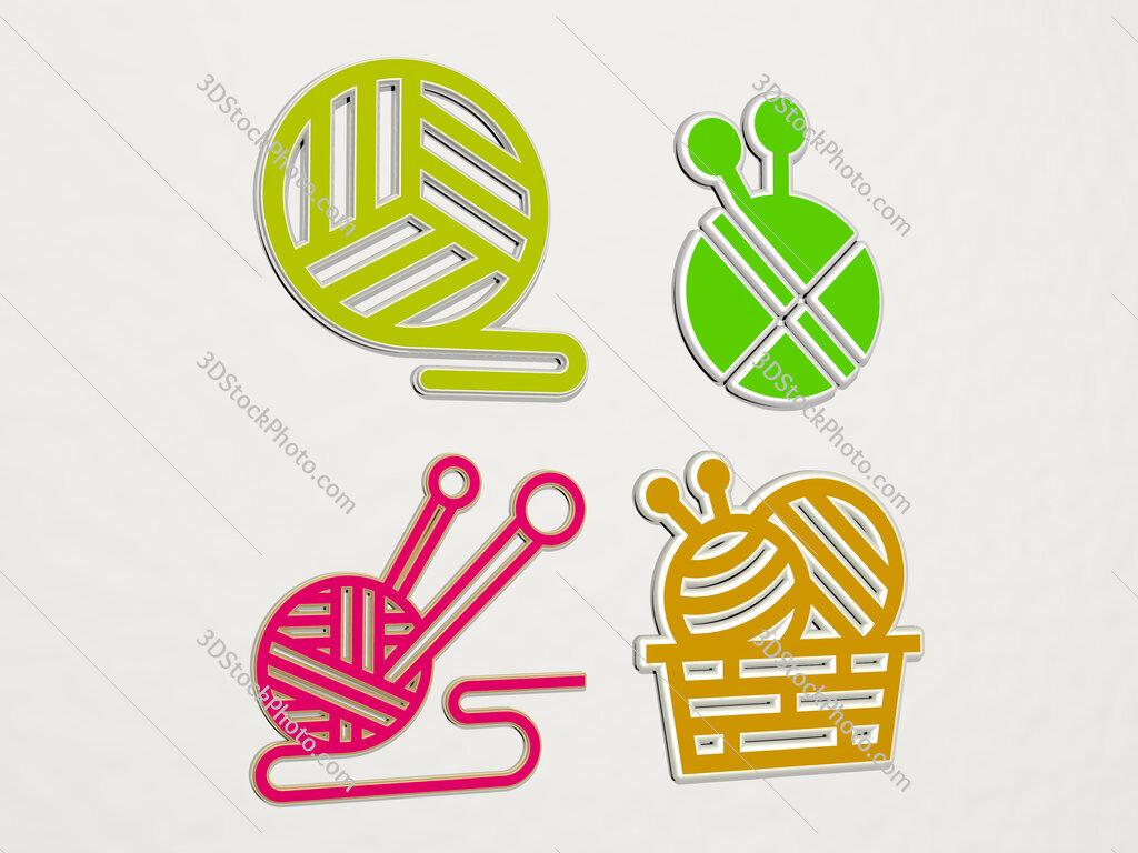 yarn 4 icons set