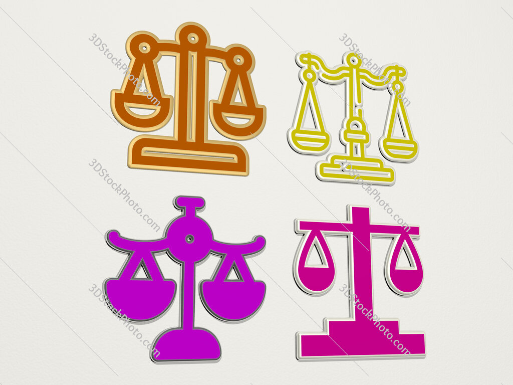 justice scale 4 icons set