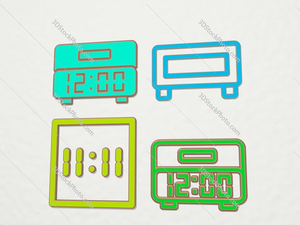 digital clock 4 icons set