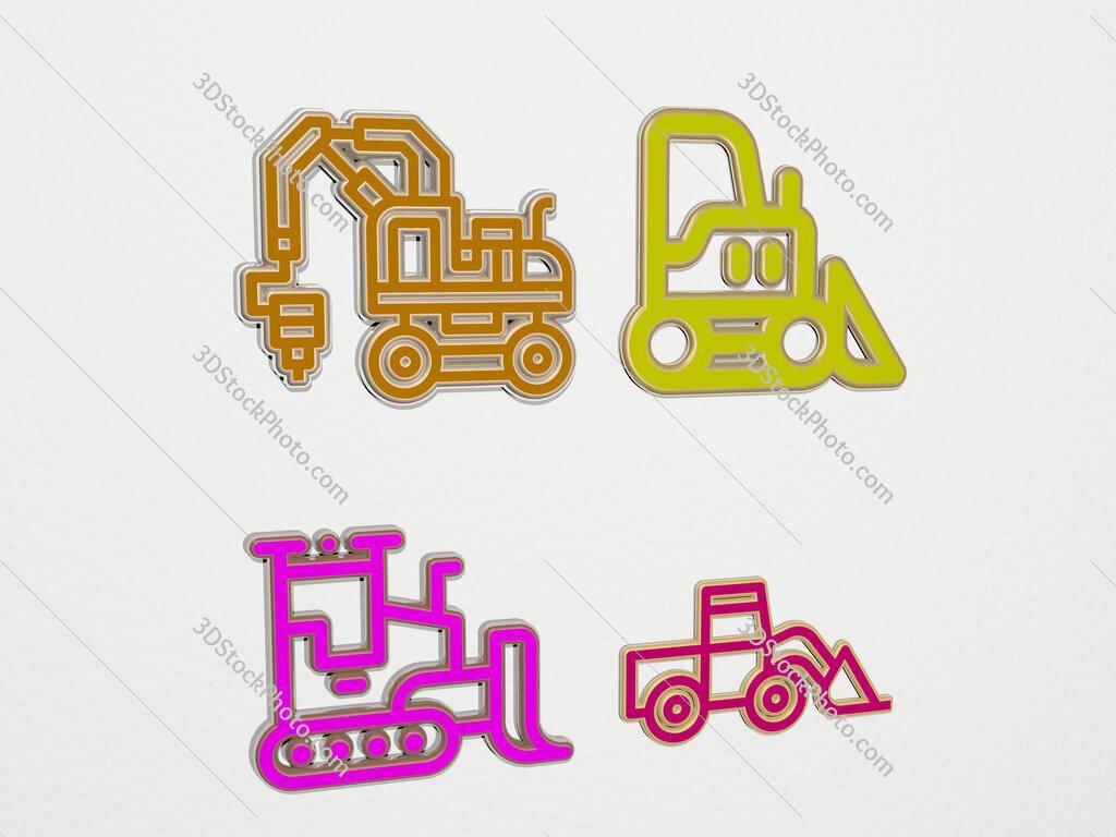 bulldozer 4 icons set