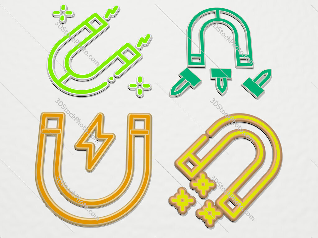 magnet 4 icons set