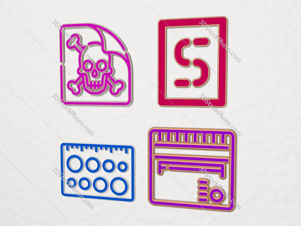 stencil 4 icons set