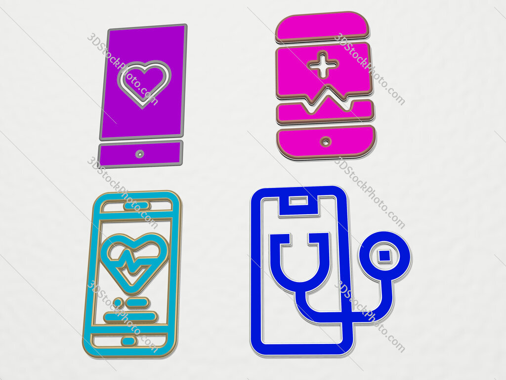 medical app 4 icons set
