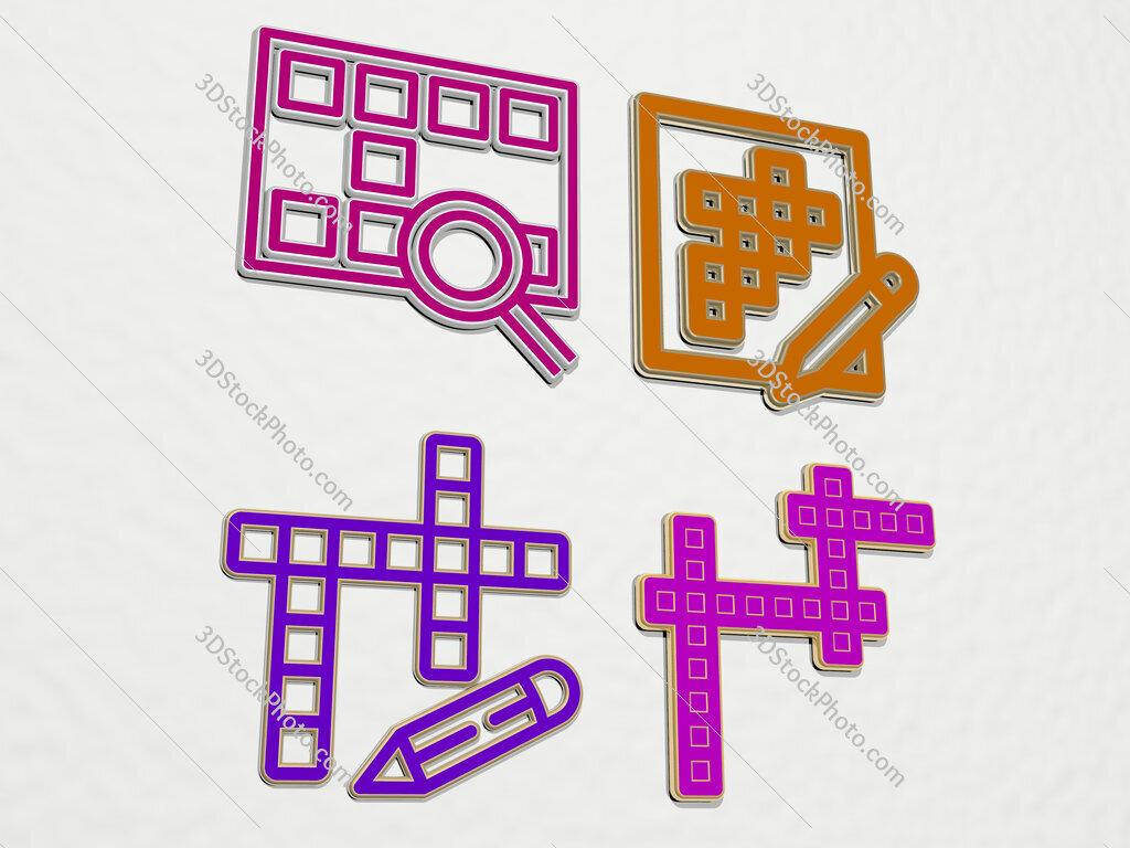 crossword 4 icons set