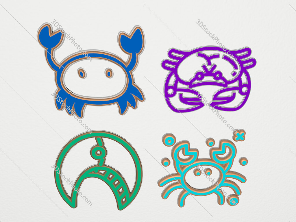 crab 4 icons set