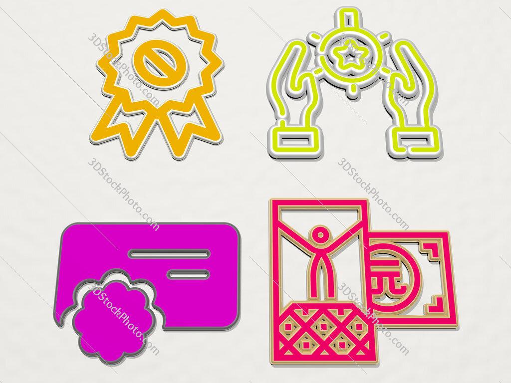 reward 4 icons set