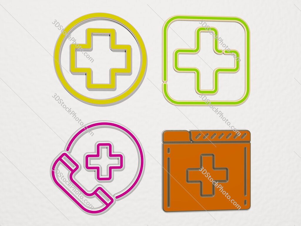 medical 4 icons set