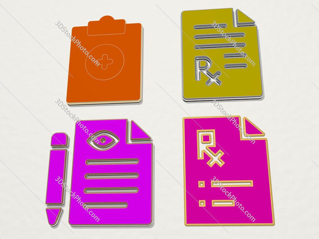 medical prescription 4 icons set