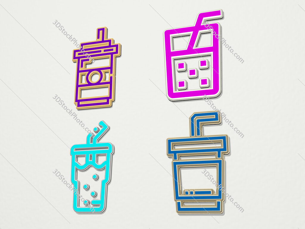 soft drink 4 icons set